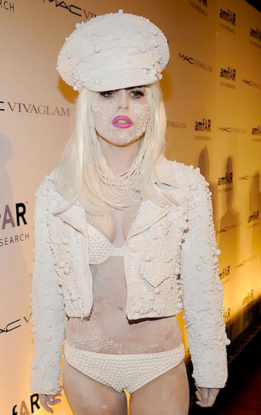 Lady Gaga at the 2010 amfAR benefit in New York